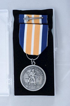SILVER ROTC MEDAL W/ BAR & CERT LARGE