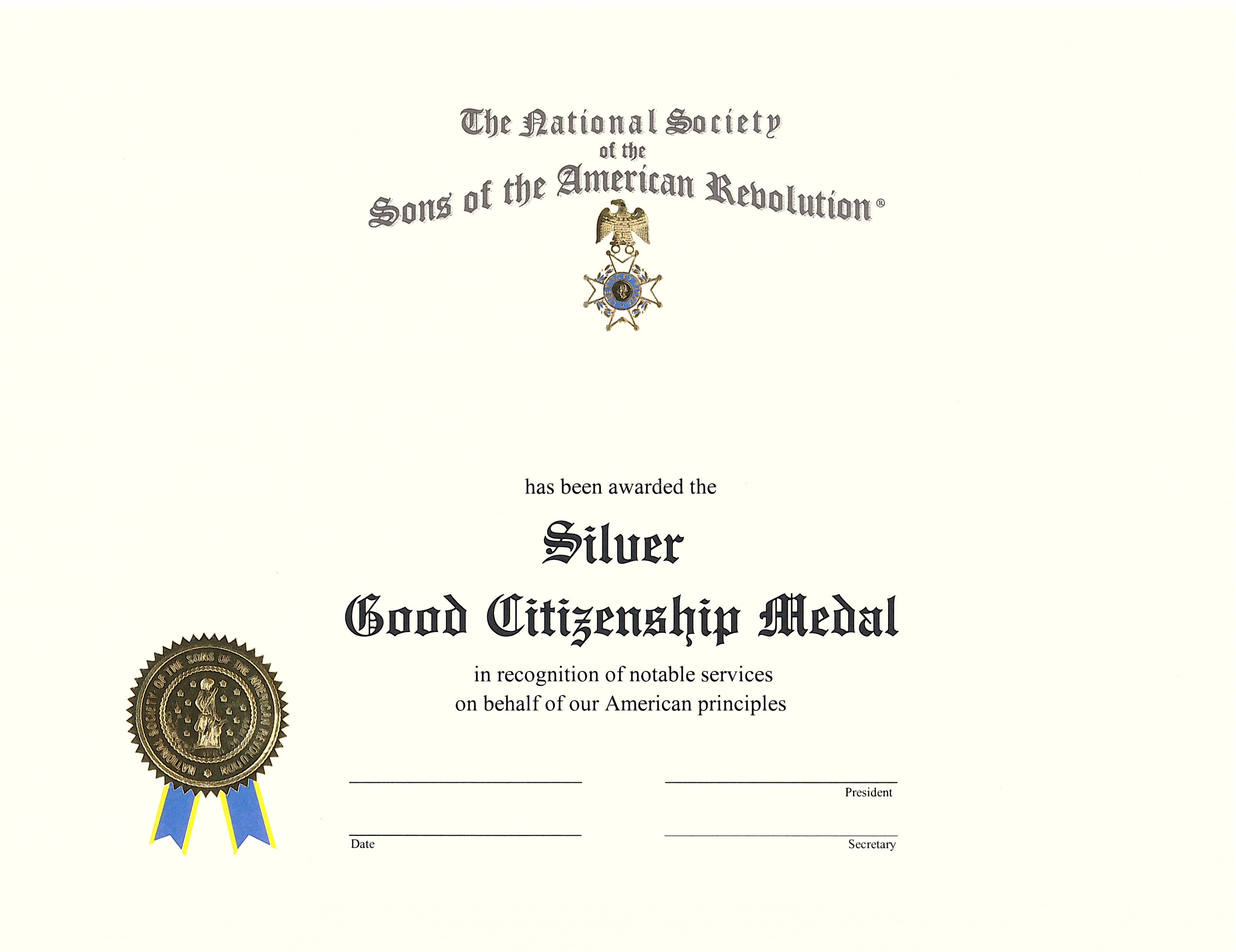 SILVER GOOD CITIZENSHIP MEDAL CERTIFICATE THUMBNAIL