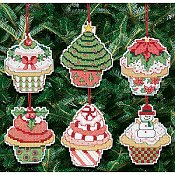 Janlynn Cross Stitch Kit - Christmas Cupcake Ornaments