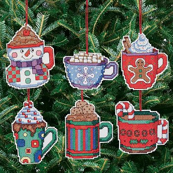 janlynn cross stitch kit cocoa mug ornaments - Cross Stitch Christmas Decorations