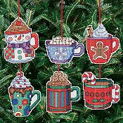 Janlynn Cross Stitch Kit - Cocoa Mug Ornaments