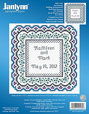 Janlynn Cross Stitch Kit - Floral Border Wedding Announcement_THUMBNAIL