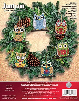 Janlynn Cross Stitch Kit - Owl Ornaments