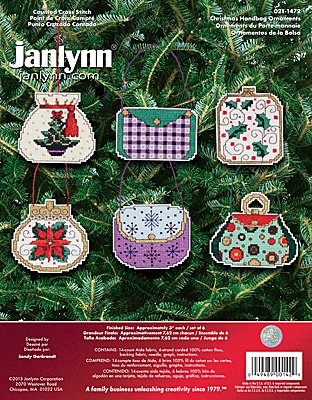 Janlynn Cross Stitch Kit - Christmas Handbag Ornaments