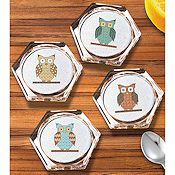 Janlynn Cross Stitch Kit - Owl Coaster Set