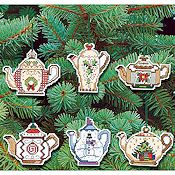 Janlynn Cross Stitch Kit - Christmas Teapot Ornaments_THUMBNAIL