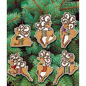 Janlynn Cross Stitch Kit - Festive Reindeer Ornaments