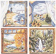 Janlynn Cross Stitch Kit - Four Window Scenes