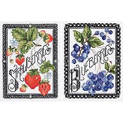 Janlynn Cross Stitch Kit - Blackwork Berries (Set of 2)