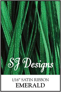 "SJ Designs - Satin Ribbon 1/16"" - Emerald MAIN"