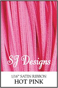 "SJ Designs - Satin Ribbon 1/16"" - Hot Pink MAIN"