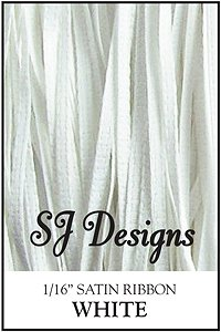 "SJ Designs - Satin Ribbon 1/16"" - White MAIN"