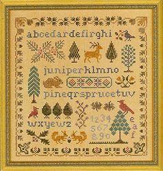 Elizabeth S Designs Antique Evergreen Sampler Cross Stitch
