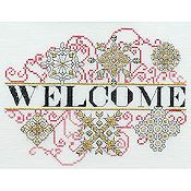 MarNic Designs - Ornament #1 Welcome (red, black & gold)