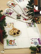 Fireside Afghan 18ct Antique White/Ivory Special Cut for Jim Shore 12 Days of Christmas Table Runner THUMBNAIL