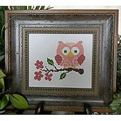 Cherry Hill Stitchery - Pink Owl On Branch_THUMBNAIL