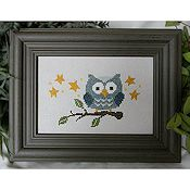 Cherry Hill Stitchery - Blue Owl On Branch THUMBNAIL