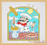 Cross Stitching Art - BBQ Chef THUMBNAIL