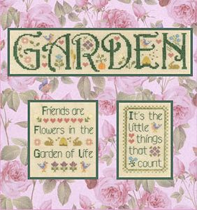 Elizabeth 39 s designs garden medley cross stitch for Garden designs by elizabeth