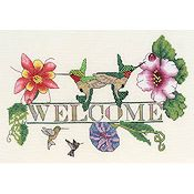 picture of MarNic Designs - Hummingbird Welcome cross stitch pattern