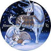 Heaven and Earth Designs - Ornament White Reindeer Family THUMBNAIL