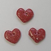 Button - Glossy Red Speckled Heart, Set of 3