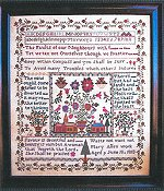 Samplers Remembered - Village Square Sampler Mary Allen 1818