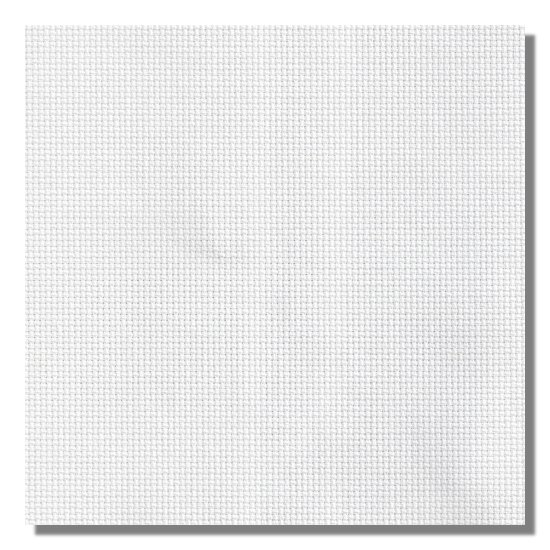 Color swatch of 11ct white Aida cross stitch fabric