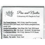 Jeannette Douglas Designs - Pins & Needles Embellishment Pack Colourway #1 Purple & Teal_THUMBNAIL