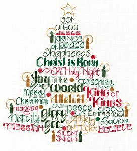 cover of Imaginating - Let's Believe 2944 cross stitch pattern featuring words in shape of Christmas tree MAIN