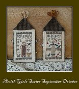 cover of Nikyscreations Amish Girls Series September/October primitive cross stitch pattern THUMBNAIL