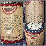 cover of Dames of the Needle - Flag and Flowers Tall Drum cross stitch pattern