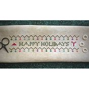cover of Death By Thread - Happy Holidays cross stitch banner THUMBNAIL
