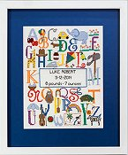 Cherry Lane Designs - Bright Alphabet Birth Sampler