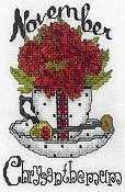 cover of X's & Oh's - Teacup Flowers - Birth Flower - November cross stitch pattern