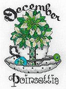 cover of X's & Oh's - Teacup Flowers - Birth Flower - December cross stitch pattern