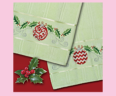 Holly & Ornament Towels