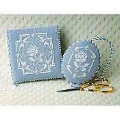 The Sweetheart Tree - Teenie Tweenie 203 White Rose Needlebook & Fob
