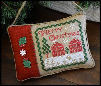 little house needleworks merry christmas pillow