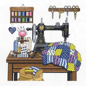 Janlynn Cross Stitch Kit - Antique Sewing Room MAIN