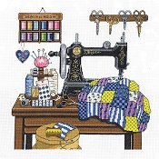 Janlynn Cross Stitch Kit - Antique Sewing Room