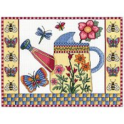 Janlynn Cross Stitch Kit - Butterfly Watering Can_THUMBNAIL