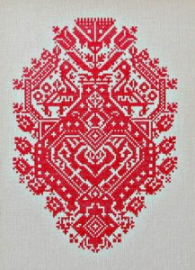 Queenstown Sampler Designs - Red Peacock, Folk Heart