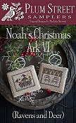 Plum Street Samplers - Noah's Christmas Ark VI - Ravens and Deer THUMBNAIL