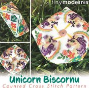 Tiny Modernist - Unicorn Biscornu_THUMBNAIL