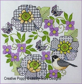 Lesley Teare - Blackwork Scabious and Chickadee MAIN