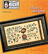 Heart In Hand Needleart  - Robin Sampler THUMBNAIL
