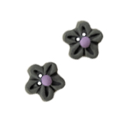 Button - Grey Flower Head, Small (Set of 2) THUMBNAIL