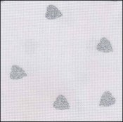 "Fabric Flair White with Silver Glitter Hearts 16ct Aida 18"" x 27"" THUMBNAIL"
