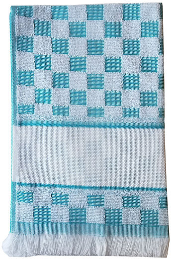 Verona Kitchen Towel - Turquoise/White THUMBNAIL